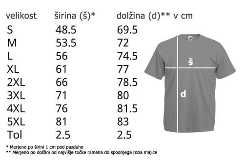 Velikosti moška kratka majica
