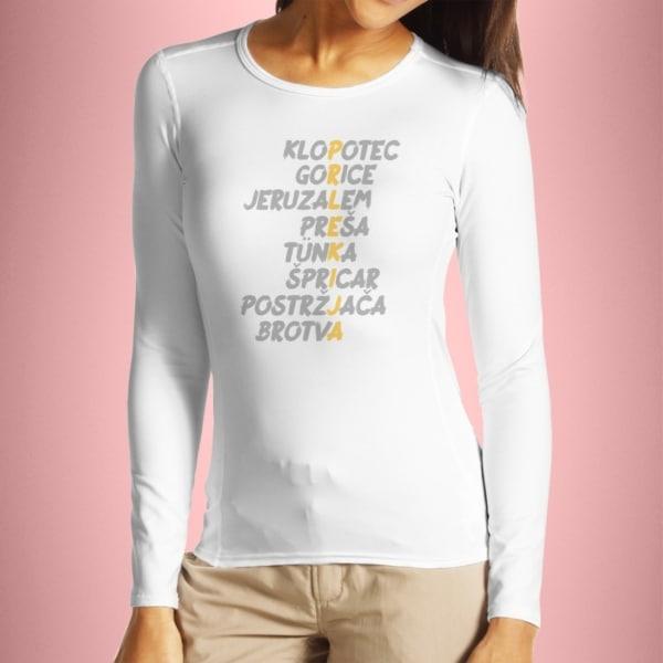 Dolgi rokavi napis Prlekija ženska - bela